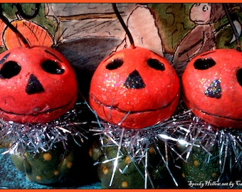 Hand made Halloween Pumpkin feather tree ornaments