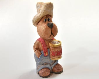 Fathers Day Gift Wood Carving Caricature Bear Wood Sculpture Under 30 Grandpa Gift Husband Gift Animal Carving Men Gift