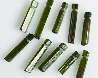 Ten Green Tourmaline Natural Crystals