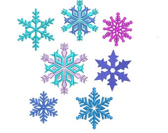 Snowflakes Embroidery Design - 6 designs Instant download