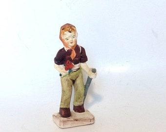 May Sale Event Vintage Hand Painted Ceramic Alpine Woman Hiker Figurine