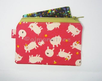 Pink Pigs women wallet, small zip coin purse, id1830883, id work lanyard pouch, cardholder, cute animal, travel bag organiser, card case