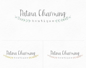 Custom PreDesigned / Watercolor laurel branches premade logo design - photography or boutique logo