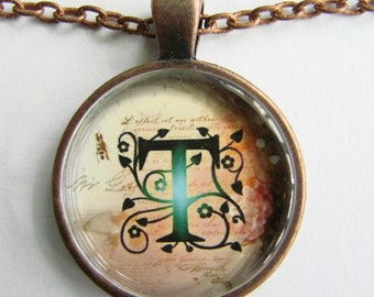 """Initial """"T"""" Necklace -- Green Vine pattern Personalized Letter T Necklace, Wedding Necklace, for Bridesmaid, Hen Night, Friendship token"""