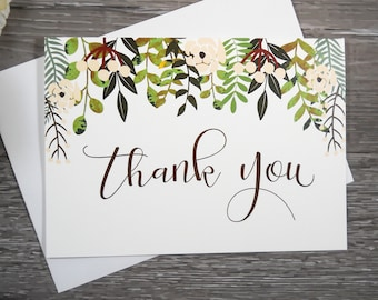 Set of 8, THANK YOU CARDS, Thank You Cards Set, Thank You Notes, Wedding Thank You Cards, Thank You Card Set, Note Cards, Stationery Set