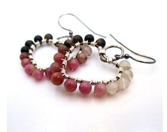 Beaded Heart Earrings, Gift for Girlfriend, Gift for Her, Pink Earrings, Tourmaline Earrings, Heart Jewelry, Christmas Gift for Women