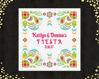 100+ Fiesta Napkins Mexican Fiesta Luncheon Napkins Colorful Beverage Napkins Party Napkins Custom Personalized Napkins LOTS of COLORS!