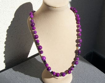 Sugilite (gemstone) necklace gold plated.