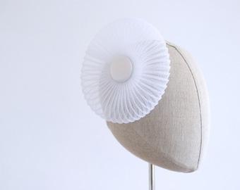 White Bridal Fascinator Pleated Crin Wedding Hat