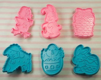 6 Pc. Pink And Blue Easter Plastic Cookie Cutters