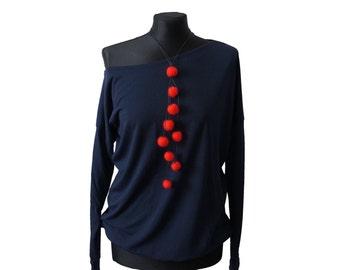 Felted necklace, Feltmondo, Felt necklace, Felt beads necklace, red felt necklace, Wool necklace,