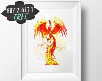 Harry Potter Watercolor, Phoenix Art Print Poster, Fawkes Harry Potter Printable, Watercolor Instant Download, Girl Art Canvas, Newborn Boy