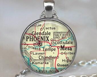 Phoenix, Arizona map necklace, Phoenix necklace pendant Mesa Arizona Tempe Glendale Scottsdale AZ map jewelry map key chain key ring fob
