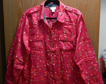 Jaclyn Smith XXL Womens Fuschia Pink Skeleton Key + Button Print Blouse Shirt/Top