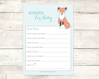 wishes for baby shower printable baby boy fox DIY blue polka dots woodland card cute baby shower digital games - INSTANT DOWNLOAD