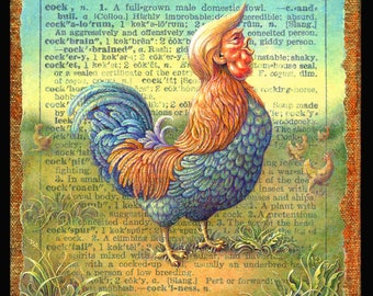 Anti-Trump surreal painting, Cockalorum: Funny Trump art, Year of the Cock, political art,  caricature, funny Trump art, Year of the Rooster