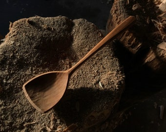 "11"" serving spoon, cooking spoon, hand carved wooden spoon"