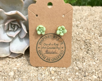 Succulent Earrings - Polymer Clay Earrings - Polymer Clay Green Translucent  Succulent Earrings
