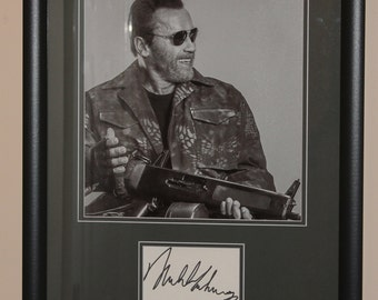 Arnold Schwarzenegger Signed Autograph Index Card Framed and Matted To Final Size 16x20  Terminator, The Expendables