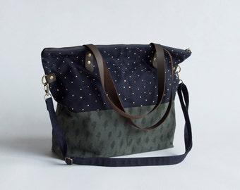 Trees & Stars Journey Bag. Shoulder Bag. Canvas Bag. Tote. Across body bag. Book Bag. Purse. Patterned Bag. Screenprinted Bag.