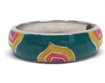 Splendid  Multi Colored Enamel Silver Tone Modern Estate Clamper Bracelet