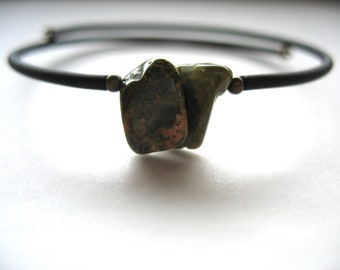 Unakite Bracelet, Unakite Stone Cuff Bracelet, Handmade Unakite Jewelry, Gemstone Jewelry, Stone Bracelet, Unakite Jewelry
