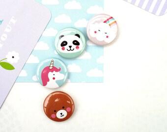Badge 25 mm 'kawaii collection' choice: bear/panda/Unicorn/cloud Rainbow - rainbow