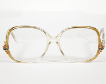 Renato Balestra NOS 1970s Vintage Gold Plastic Designer Eyeglasses Frames