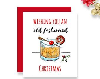 Christmas Card Handmade - Old Fashioned Christmas - Christmas Card - Single Greeting Card