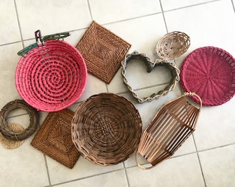 Colorful Wall Basket Set/10 | Woven Coiled Handmade Wall Hanging Basket Decor Bright Red