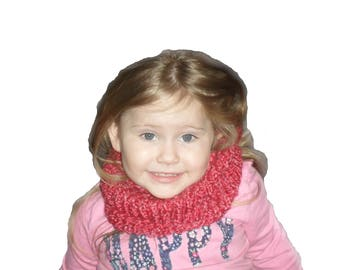 Hand Knitted Pink Neck Warmer/ Cowl. Hand Knitted adult size. Handmade in the USA.