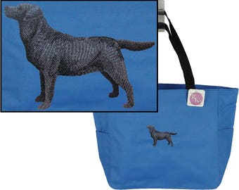 Labrador Silhouette Essential Zippered Tote Pet Bag + Name Dog Walker Pet Sitter Custom Embroidered