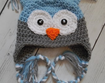 Baby Owl Hat, Crochet Owl Hat, Blue Owl Hat, Newborn, Children - Made to Order