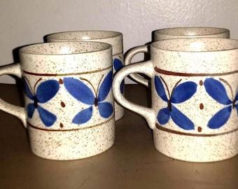 Vintage Otagiri Stoneware Coffee Mugs,Set of 4,Japan,Otagiri,OMC,Stoneware Mugs,Butterfly Mugs,Stoneware Cups, Speckled Mugs,Coffee,Cocoa