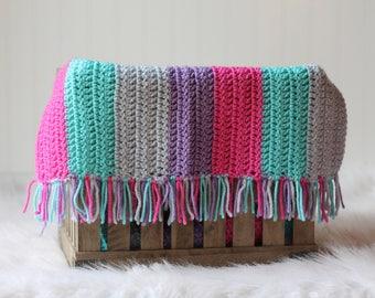 Crochet Baby Photograpy Mini Blanket Basket Stuffer Pink Purple Teal Aqua
