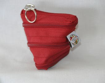 door - key or metal frame coin purse made entirely of zipper.