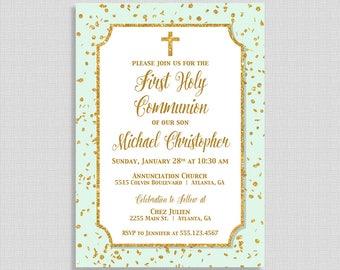 First Communion Invitation,  Mint & Gold Glitter Confetti Holy Communion Invite, Gender Neutral, DIY PRINTABLE
