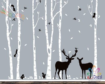 Removable Nursery Birch Tree Forest with Birds and Deer fawn doe buck and squirrels (6 trees) DC01286