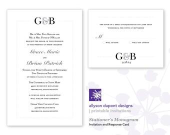 Printable Wedding Invitations - Black & White Monogram - Stationer's Monogram - Invitation and Response Card