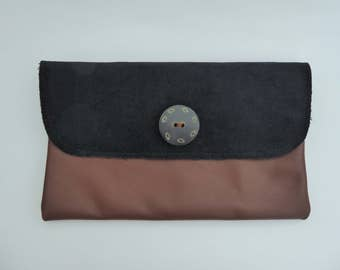 Leather & Black Velvet Clutch Bag