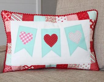 Valentine Pillow Vanlentine's Day Pillow Heart Pillow Heart Bunting Pillow - Aqua
