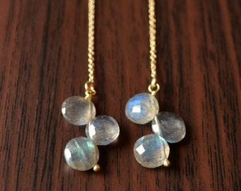Labradorite Earrings, Gold Threader Earrings, Long Dangle Earrings, Gemstone, Gold Filled Jewelry, Free Shipping
