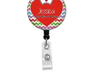 Cardiac Nurse Badge Reel - Id Badge Holder - Badge Holder - ID Badge Reel - Retractable Badge - Nurse - Name Badge Holder - Cardiac Nurse