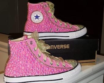Hi-Top Pink Pearl Bling Converse Sneakers