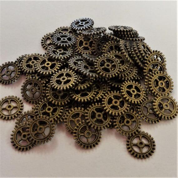 "CLEARANCE 100 pcs 12mm Steampunk Clock Gears Cogs Charms Metal Bike Steampunk Jewelry Bronze Metal Watch Gears 1/2"" Diameter Bicycle Gears"