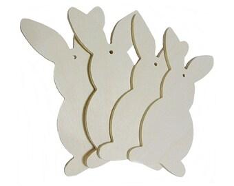 Coniglietto sagoma in legno,per il Fai da te  da decorare 4 pz.