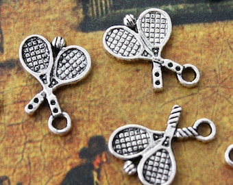 10 Tennis Rocket Charms Antiqued Silver Tone Double Sided 14 x 17 mm