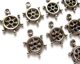 10 Antique Silver Nautical Ship Wheel Charms - 21-63-5