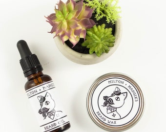 Beard Grooming Kit with Beard Wax and Beard Oil. Beard Care Gift Set. Products for Beards. Beard Conditioner. Mens Beard Products.