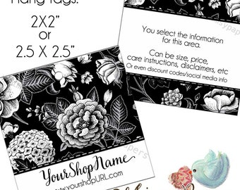"""Custom Hang Tags,  2 X 2"""" or 2.5 X 2.5"""", Double Sided HANG TAGS with holes"""